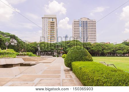 Bangkok Thailand - June 5 2016: King Chulalongkorn and King Vajiravudth (Rama V and VI) statue at front of University with background of Faculty of Science buildings