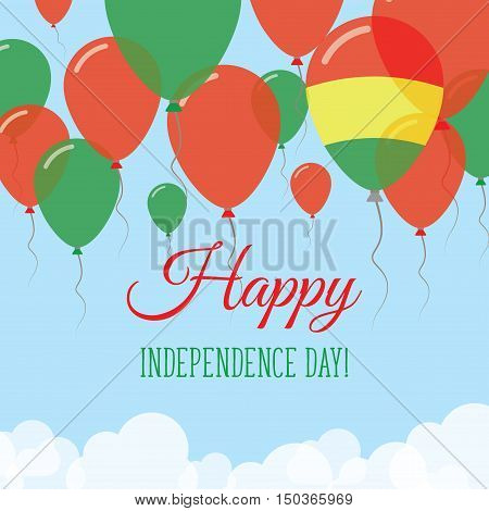 Bolivia Independence Day Flat Greeting Card. Flying Rubber Balloons In Colors Of The Bolivian Flag.