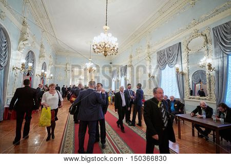 MOSCOW, RUSSIA - APR 23, 2016: Guests and members of A Just Russia political party after meeting at 8th congress in Union House hall.