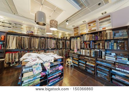 MOSCOW, RUSSIA - JUN 27, 2016: Interior of salon of Uyut (Comfort) Company. Company offers high-quality products for windows decoration.