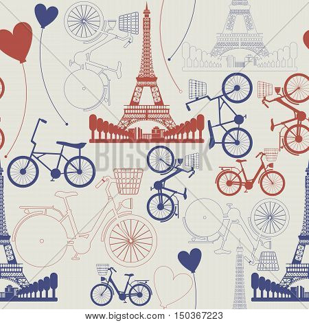 Seamless pattern of France Landmark - Eiffel Tower. Stylish pattern can be used for linen, tile,  design fabric ,covers, greeting cards and more creative designs.