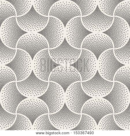 Vector Seamless Black and White Arc Shape Stipple Halftone Pattern. Abstract Geometric Background Design