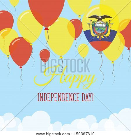 Ecuador Independence Day Flat Greeting Card. Flying Rubber Balloons In Colors Of The Ecuadorean Flag