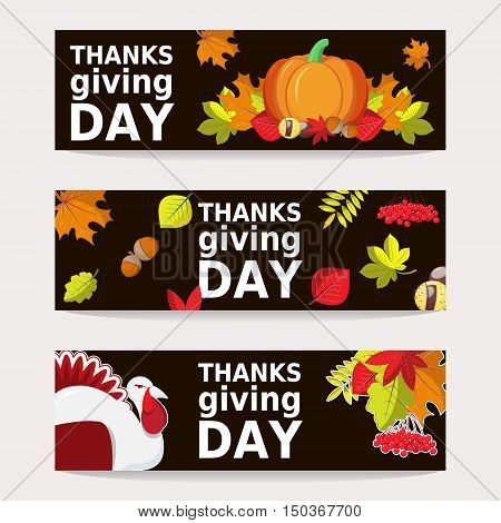 Hand Drawn Happy Thanksgiving Bunner Templates With Autumn leaves, Turkey and Pumpkin.