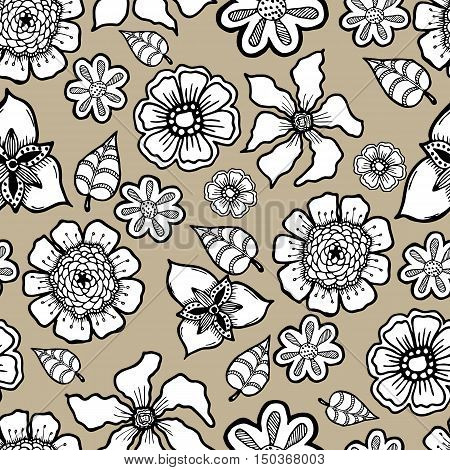 Ornate floral pattern with flowers. Doodle sharpie background. template for card, poster, leaflet. seamless