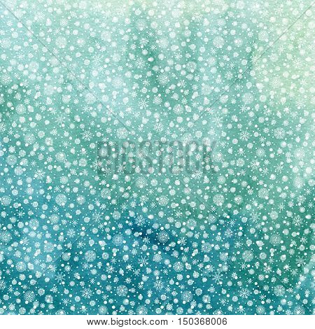 Christmas and Happy New Year background. Hand drawn turquoise blue watercolor abstract texture with snowflakes. Falling snow raster holiday backdrop for card.