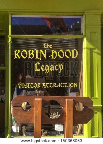 NOTTINGHAM ENGLAND - OCTOBER 3: The exterior of 'The Robin Hood Legacy' visitor attraction. In Nottingham England. On 3rd October 2016.