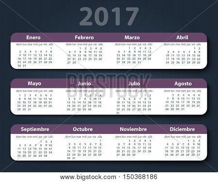 Calendar 2017 year vector design template in Spanish. EPS