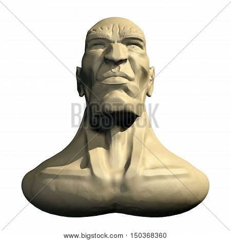 Male three dimensional human head. 3d cartoon model of artificial head. Front bottom view.