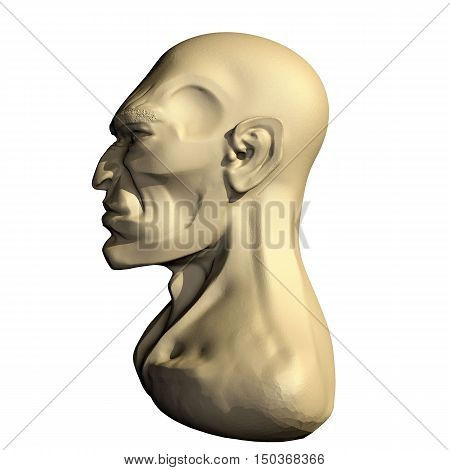 Male three dimensional human head. 3d cartoon model of artificial head. Left side view.