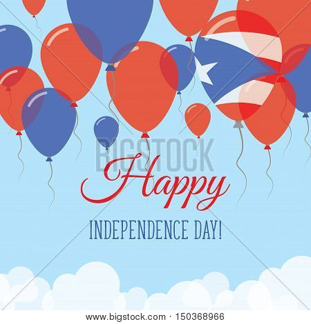 Puerto Rico Independence Day Flat Greeting Card. Flying Rubber Balloons In Colors Of The Puerto Rica