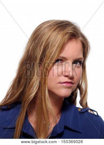 A head and shoulders portraiy of a unsmiling woman.