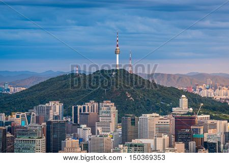 Seoul City Skyline, Seoul Tower Downtown View Of South Korea.