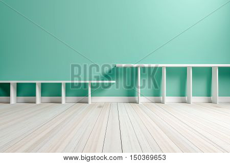 Empty interior light green room white white shelf and wooden floor for display of your products. - 3D rendering