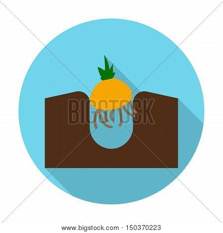 onion flat icon with long shadow for web design