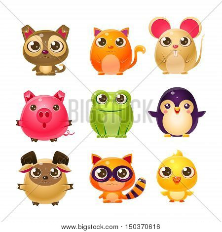 Sweet Baby Animals In Girly Design. Set Of Bright Color Vector Icons Isolated On White Background. Cute Childish Animal Characters Design.