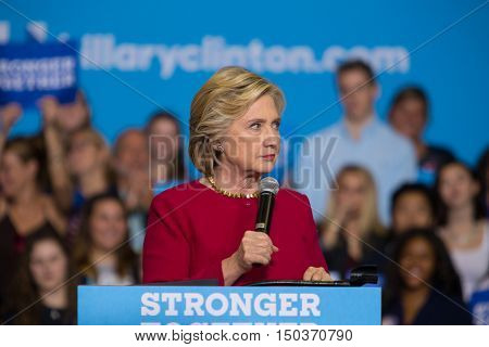 Harrisburg PA - October 4 2016: Presidential candidate Hillary Clinton rallying supporters at Zembo Shrine urging them to register to vote.