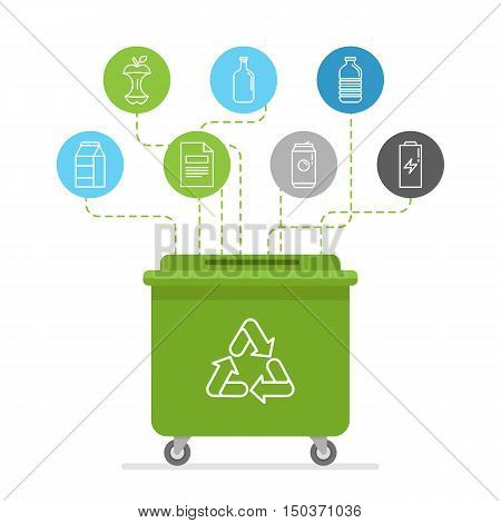 Vector Illustration In Modern Flat Linear Style - Recycle