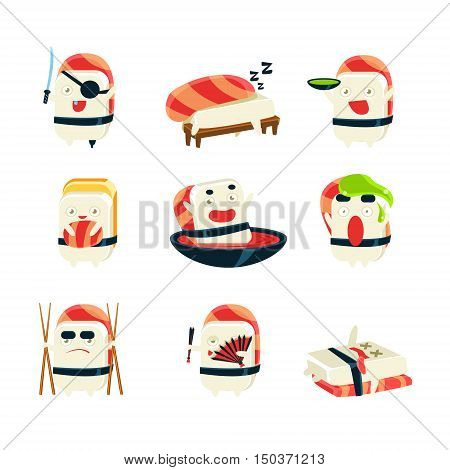 Maki Sushi Character Japan Themed Activities. Set Of Silly Childish Drawings Isolated On White Background. Funny Creature Colorful Vector Stickers Set.
