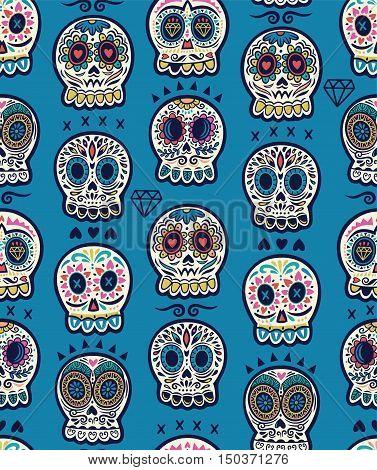 Seamless pattern - Day of The Dead cartoon calaveras sugar skull