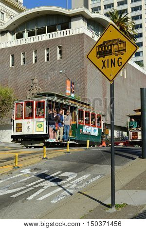 SAN FRANCISCO - MARCH 16: Antique Cable Car in Fisherman's Wharf on March 16, 2014 in San Francisco, California, USA.