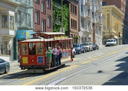 SAN FRANCISCO - MARCH 15: Antique Cable Car in Fisherman's Wharf on March 15, 2014 in San Francisco, California, USA.