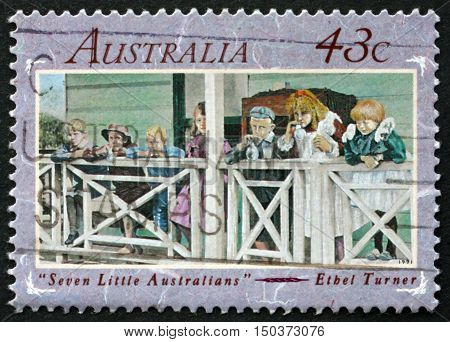 AUSTRALIA - CIRCA 1991: a stamp printed in Australia shows Seven Little Australians is a Classic Australian Children's Novel by Ethel Turner circa 1991