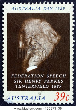 AUSTRALIA - CIRCA 1989: a stamp printed in Australia shows Sir Henry Parkes Advocate of Federation of the Six Colonies circa 1989