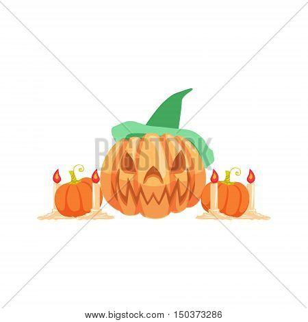 Halloween Pumpkin Lantern As Autumn Attribute. Seasonal Symbol In Cute Detailed Cartoon Style On White Background.