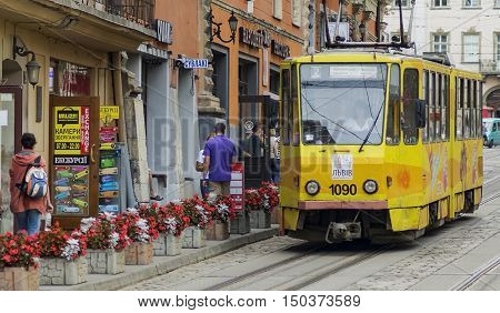 Lvov Ukraine- August 22 2016:Tram on the streets of the old town.