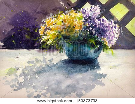 Yellow and purple flowers in a vase on a table in garden.Picture created with watercolors.