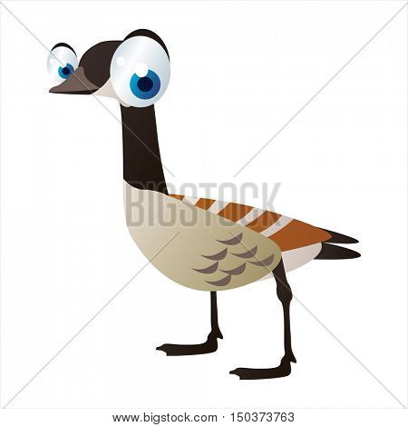 vector cute isolated animal character illustration. Bird. Funny Canadian Goose