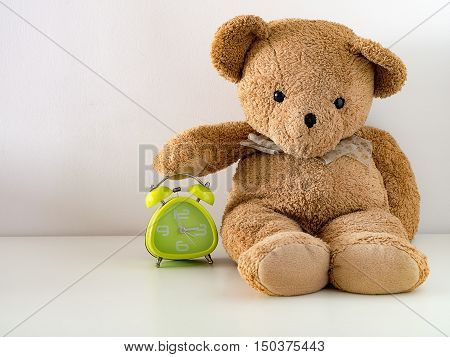 Brown cute teddy bear hold green alarm clock. time management concept.