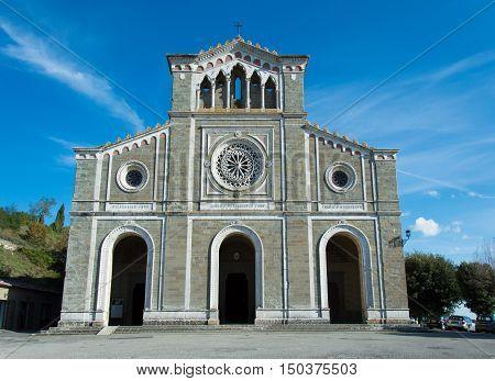Santa Maria church in Cortona Tuscany Italy - front and square