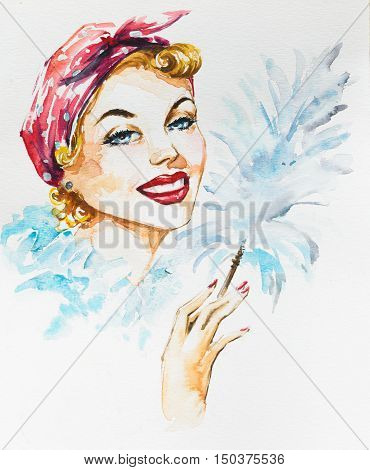 Young beautiful cleaning woman holding static duster.Picture created with watercolors.
