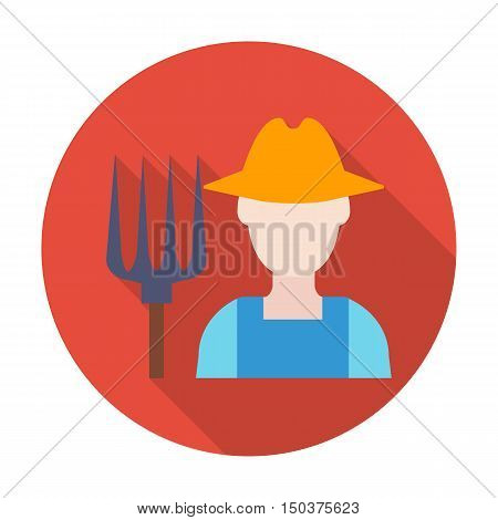 farmer flat icon with long shadow for web design