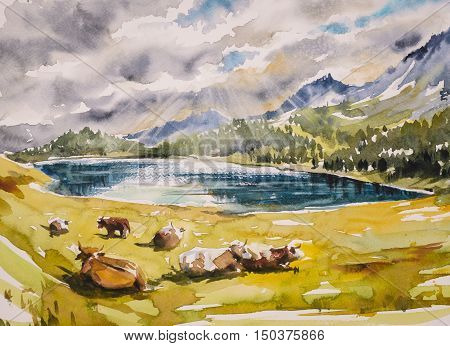 Idyllic alpine landscape: brown cows grazing on a meadow close to the mountains and a lake. Watercolors illustration.