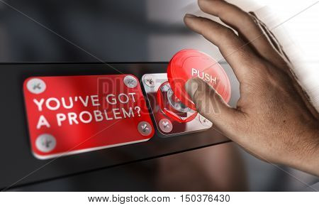 Man in trouble about to press a panic button to solve a problem. Composite image between a photography and a 3D background.