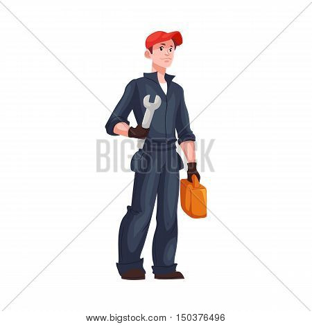 Full length portrait of young and handsome plumber, mechanic, repairman, cartoon style vector illustration isolated on white background. Repairman, mechanic or plumber with a wrench and a toolbox