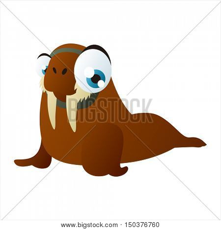 vector cute isolated animal character illustration. Funny Walrus
