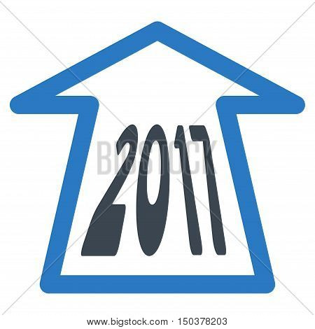 2017 Ahead Arrow vector pictograph. Style is flat graphic symbol, smooth blue colors, white background.