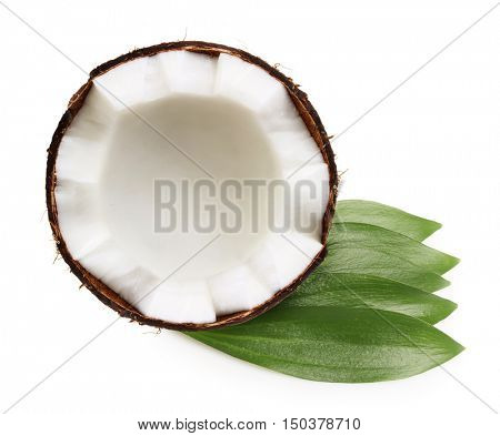 Tropical fruit coconut isolated on white background.