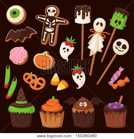 Halloween cake symbol vector autumn fear creepy traditional sign. Halloween horror design icon. Celebration october halloween symbol.