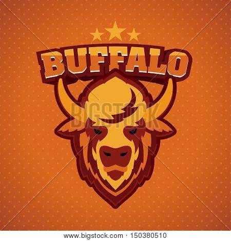 Buffalo Head Logo Mascot Emblem. Talisman college sports teams e-sport bull school logo tattoo avatar print t-shirt. The design of the character of a wild ocher bison. Vector illustration.