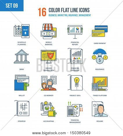 Color Flat Line icons set of financial management, accounting, mobile banking and payment types, strategy and planning, design and insurance, trading platforms, financial report. Editable Stroke.