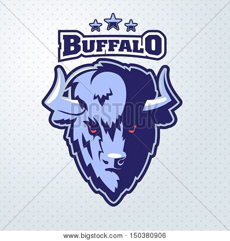 Buffalo Head Logo Mascot Emblem. Talisman college sports teams e-sport bull school logo tattoo avatar print t-shirt. The design of the character of a wild bison. Vector illustration.