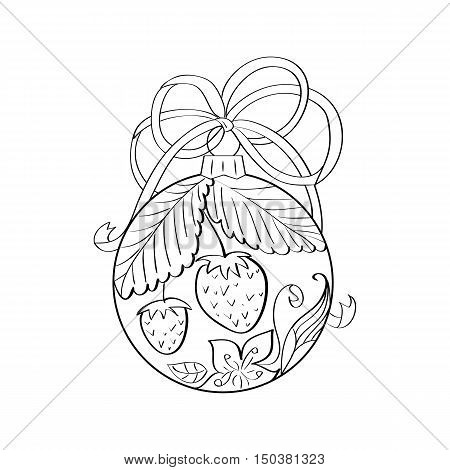 Vector christmas ball with summer ornament inside - strawberry and flowers. Coloring page for adult. Zentangle element for design. Xmas and new year holiday theme
