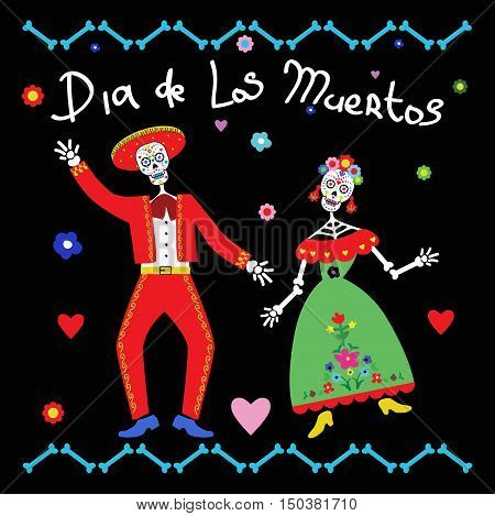 Day of the Dead (Dia de los Muertos) Vector Illustration of couple of skeletons
