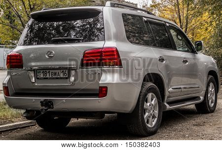 Kazakhstan, Ust-Kamenogorsk, september 30, 2016: Lexus LX 570, new car, new japan suv in the street