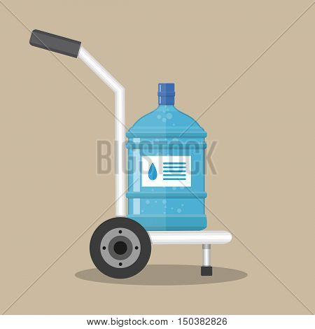 Hand truck with big plastic bottle for water cooler. delivery concept. vector illustration in flat style on brown background